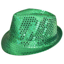 GREEN UNISEX SEQUIN FEDORA HAT TRILBY MJ FANCY DRESS HEN PARTY STAG DO GANGSTER