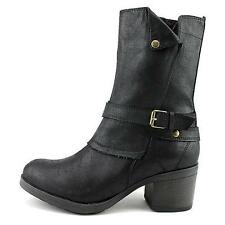 MIA SUZETTE Black Fashion Casual Pull On Riding Mid Calf Dress Casual Boot shoes
