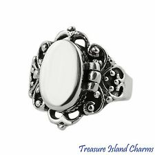 VICTORIAN SCROLL .925 Sterling Silver POISON PILLBOX RING SIZE 6, 7, 8, 9, 10