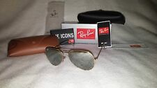 NEW Ray Ban Aviator Sunglasses Gold Frame Silver Mirror Lens 58-62mm 001/40