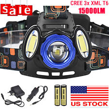 15000LM 3Mode HEADLAMP 3X XML T6 LED Headlight Head Light Torch 18650+Charger