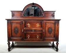 Antique Oak Sideboard Mirror Buffet Credenza Vintage Rustic Jacobean Carved Vint