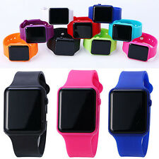 Fashion Unisex Simple Square Dial LED Digital Colorful Rubber Strap Wrist Watch