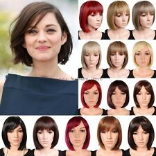 UK BOB Wigs Short Straight Full Hair Wig Cosplay Party Fancy Dress With Rose Cap