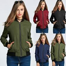 New Women Fashion Long Sleeve Warm Zip Up Solid Bomber Jacket with Pockets