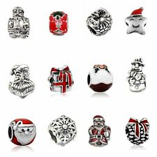Xmas Silver DIY Christmas Bead Pendant Fit Bracelet Necklace Decor Accessories