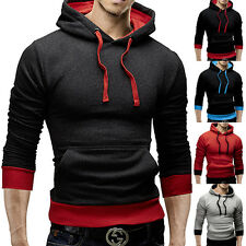 Men's Slim Jacket Kangaroo Pocket Color Block Pullover Hoodie Sweatershirt Coat