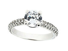 1.10Ct Round Diamond Engagement Ring Pave Accents Solid 10k Gold GH I1