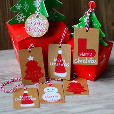 50Pcs Christmas Kraft Paper Santa Label Price Hang Tags Scallop Cards Decor Gift