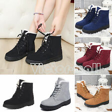 Womens Ladies Winter Warm Faux Suede Fur Lace-up Ankle Boots Snow Boots Shoes
