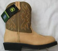 JOHN DEERE boys kids size 11 camel tan round toe Wellington Cowboy boots NEW