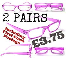 R174 2 x PAIRS Cheap Purple Reading Glasses +1.0+2.0+2.5 FREE 1st Class Postage