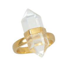 925 Sterling Silver 14 Karat Gold Plated Clear Quartz Ring