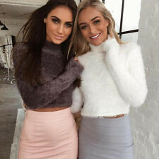 Women Fashion Soft Long Sleeve Knitted Plush Warm Short Sweaters Pullover Tops