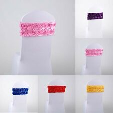 Rose Stretch Wedding Banquet Chair Cover Sashes Band Bow Party Venue Home Decor