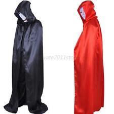 Hooded Long Cloak Halloween Amax Party Fancy Dress Costume Wedding Wicca Cape