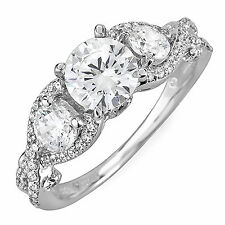 3 Stone Diamond 3.18 Carat Round Shape GIA VS1 Engagement Ring Antique Style