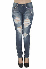 1A6038JS - Women's Juniors Low Rise Distressed Embellished Premium Skinny Jeans