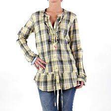 REPLAY Ladies Long Sleeve Tunic Blouse Checked Yellow W2592