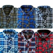 Mens Brushed Cotton Shirt Lumberjack Check Long Sleeve Flannel Warm Work Shirts