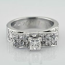 Antique Style GIA Certified Engagement Ring Princess & Round Cut 1.80 Carat
