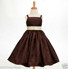 BROWN CHOCOLATE SPAGHETTI STRAPS BRIDESMAID FLOWER GIRL DRESS 18M 2 4 6 8 10 12