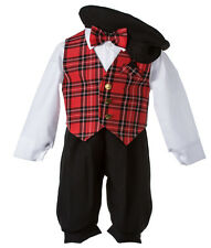 NEW Toddlers Holiday Knicker Set with Black Knickers & a Red Plaid Vest and Tie