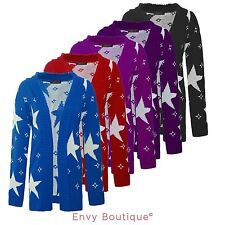 Womens Ladies Long Sleeves Star Printed Jumper Open Knitted Cardigan Plus Size