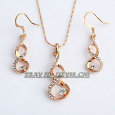 Fashion Twisted flowers Necklace & Earrings Jewelry Set 18KGP Rhinestone Crystal