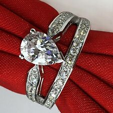 Women Pear cut 2ct White sapphire Cz 925 Silver Engagement Wedding Band Ring