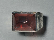 Garnet Cabochon Sterling  Silver Handcrafted Textured Ring
