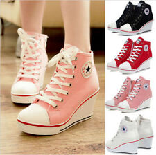 New Women Girls High Top Lace Up Canvas Sneakers Platform Wedge Heel Sport Shoes