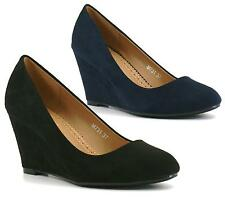 LADIES WOMENS FAUX SUEDE MID HEEL WEDGE PUMPS COURT WORK SHOES SIZE 3-8