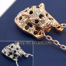 Fashion Leopard  Charm Necklace Pendant 18KGP Crystal Rhinestone