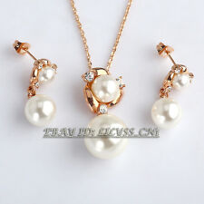 Fashion White Pearls Earrings Necklace Jewelry Set 18KGP Crystal Rhinestone
