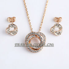 Fashion Rhinestone Rose Gold Plated Earrings Necklace Jewelry Set 18KGP Crystal