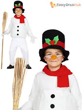 Childs Snowman Costume Boys Girls Christmas Fancy Dress Kids Novelty Xmas Outfit