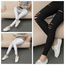 Women Girls Skinny Leggings Stretchy Sexy Slim Hole Ripped Leggings Tight Pants