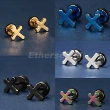 1 Pair Unisex Stainless Steel Punk Style Cross Ear Studs Earrings Jewelry
