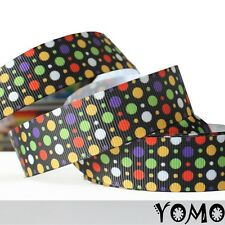 """7/8""""22mm Colorful Dots Printed Grosgrain Ribbon10/50Yards Hairbow Wholesale"""