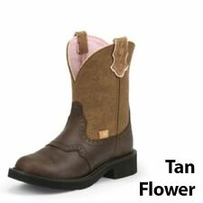 Justin Boots Justin Ladies Gypsy Rnd 8in Tan Flower Boots