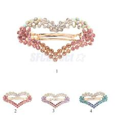 Fashion Women Girls Bling Crystal Rhinestone Heart Hair Clip Barrette Hairpin