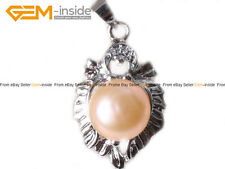 9-10mm Pearl Bead White Gold Plated Leaf Frame Jewelry Pendant with Gift Box