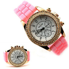 Colorful Women's Silicone Quartz Wrist Watch Geneva Crystal Jelly Gel