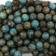 "Brown Blue Turquoise Round Beads Gemstone 15.5"" Strand 4mm 6mm 8mm 10mm 12mm"