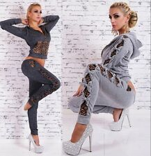 New Casual Long Sleeve Leopard Print Hoodie Tracksuit Sweatsuit Sexy Sport Suit