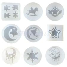 9 Designs Silicon Resin Pendant Mold Mould Moon Star Jewelry Making Tools Crafts