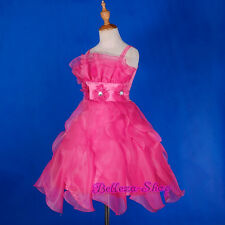 Hot Pink Ruffle Princess Dress Wedding Flower Girl Pageant Party Size 3T-7 FG274