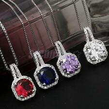 Shiny Large Square Faceted Crystal Zircon Ruby Sapphire Charm Pendant Necklace