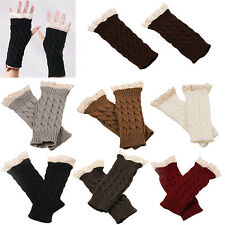 Women Fingerless Lace Gloves Soft Knitted Warm Long Mitten Wrist Warmer Cool